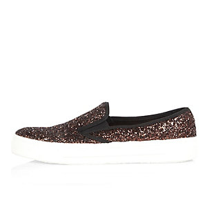 Bronze glittery slip on plimsolls