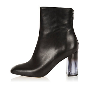 Black leather perspex heel boots