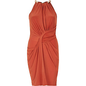 Orange ruched bodycon dress