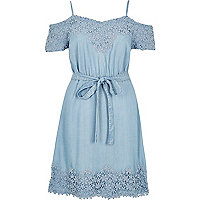 Light blue denim cold shoulder dress