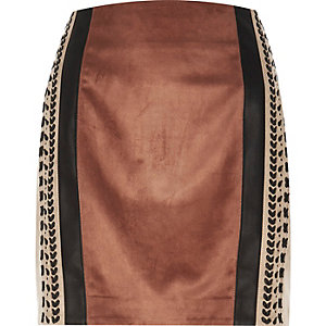 Brown block whipstitch pelmet skirt