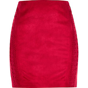 Red faux suede whipstitch mini skirt