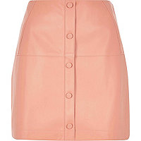 Pink Pu Button Through Skirt