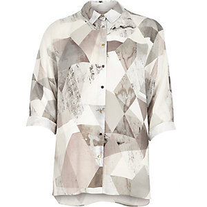Grey cut-out back oversized shirt