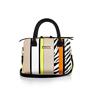 Beige stripe cross body handbag