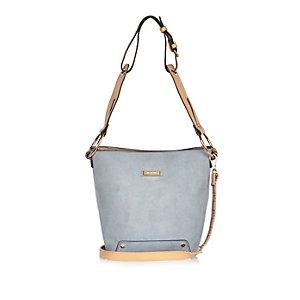 Light blue slouchy bucket handbag