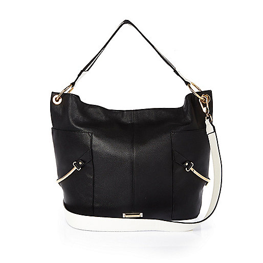 Black slouchy stirrup side handbag