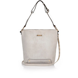 Grey slouchy bucket handbag