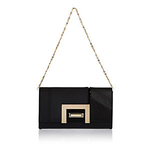 Black panel clutch handbag