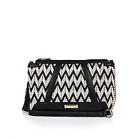 Black weave cross body bag