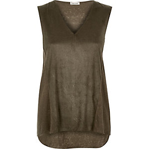 Khaki faux suede sleeveless top