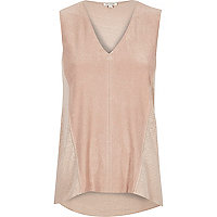 Light pink faux suede sleeveless top