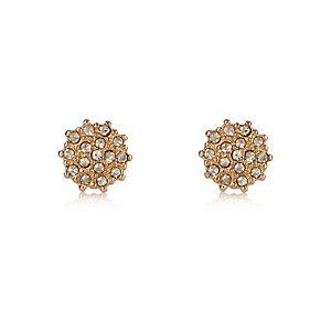 Gold tone embellished stud earrings