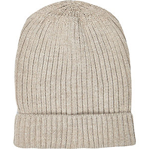 Beige ribbed knitted beanie hat