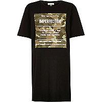 Black camo print oversized t-shirt