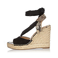 Black suede lace-up wedge sandals