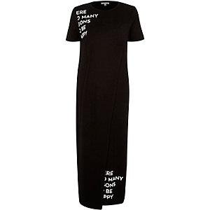Black slogan print maxi t-shirt dress