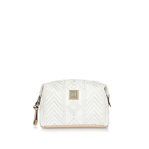 White embroidered make up bag