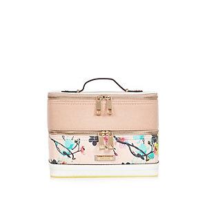Pink floral print vanity case