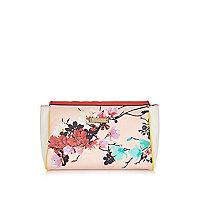 Pink floral print wash bag