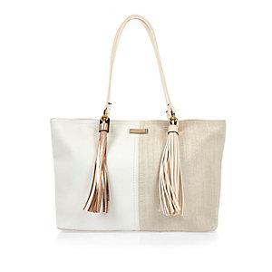 Beige panelled tote handbag