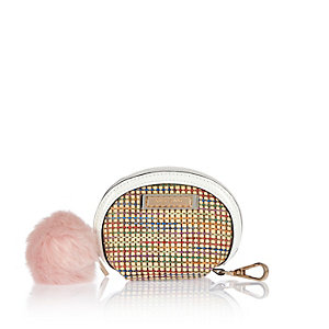 Beige weave mini purse