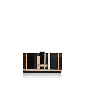 Black stripe clip top purse