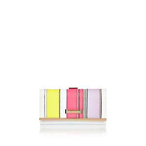 Pink stripe clip top purse