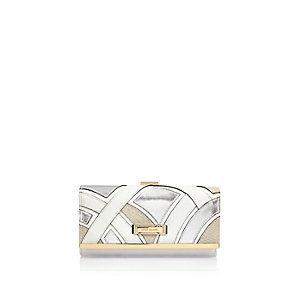 Silver patchwork clip top purse