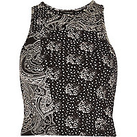 Black paisley print '90s crop top
