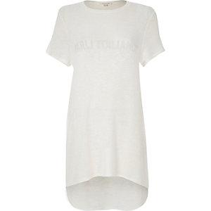 White embellished oversized t-shirt
