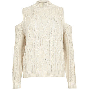 Cream cable knit cold shoulder jumper