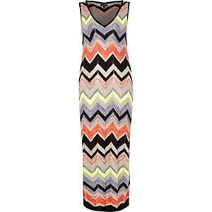 Blue knit column maxi dress