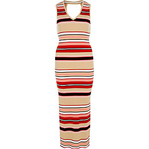 Pink stripe column dress