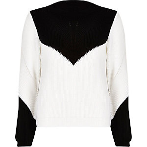 White knitted zip back jumper