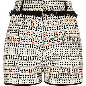 Black print fringe shorts