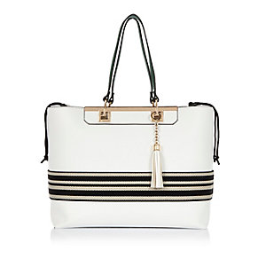 White stripe tote bag