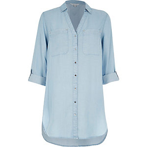 Light wash longline denim shirt