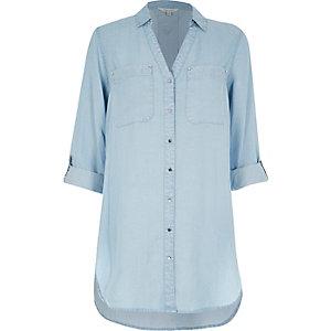 Light wash longline denim shirt