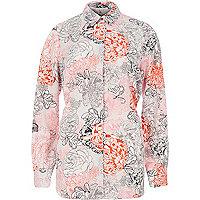 Pink print belted shirt