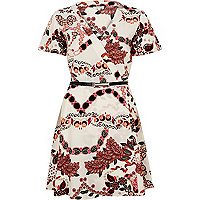 White printed belted wrap dress