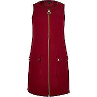 Red zip-up shift dress