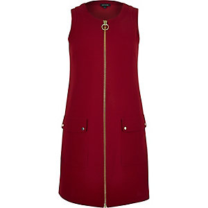 Red zip-up shift dress