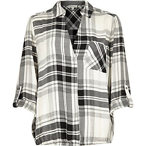 White check V-neck blouse