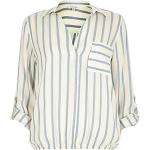 Blue stripe bubble hem blouse