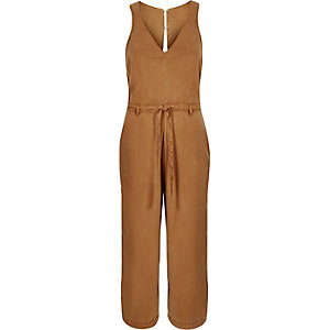Brown open back culotte jumpsuit