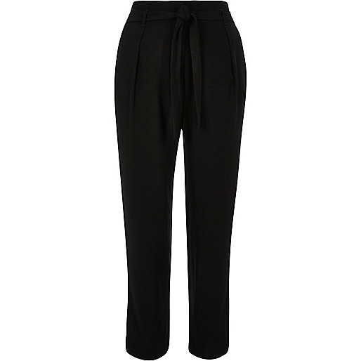 Black soft tie waist tapered trousers