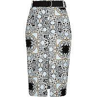 Blue printed pencil skirt