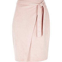 Pink faux suede tie midi skirt