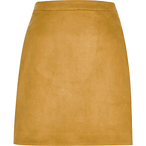Mustard yellow faux suede mini skirt